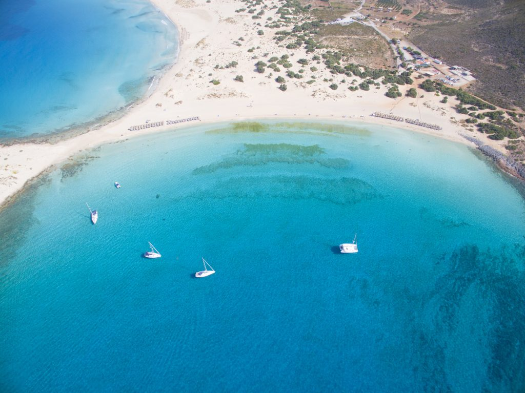 aerial view of simos beach in greece, one of the best itinerary for greece in 7 days ideas