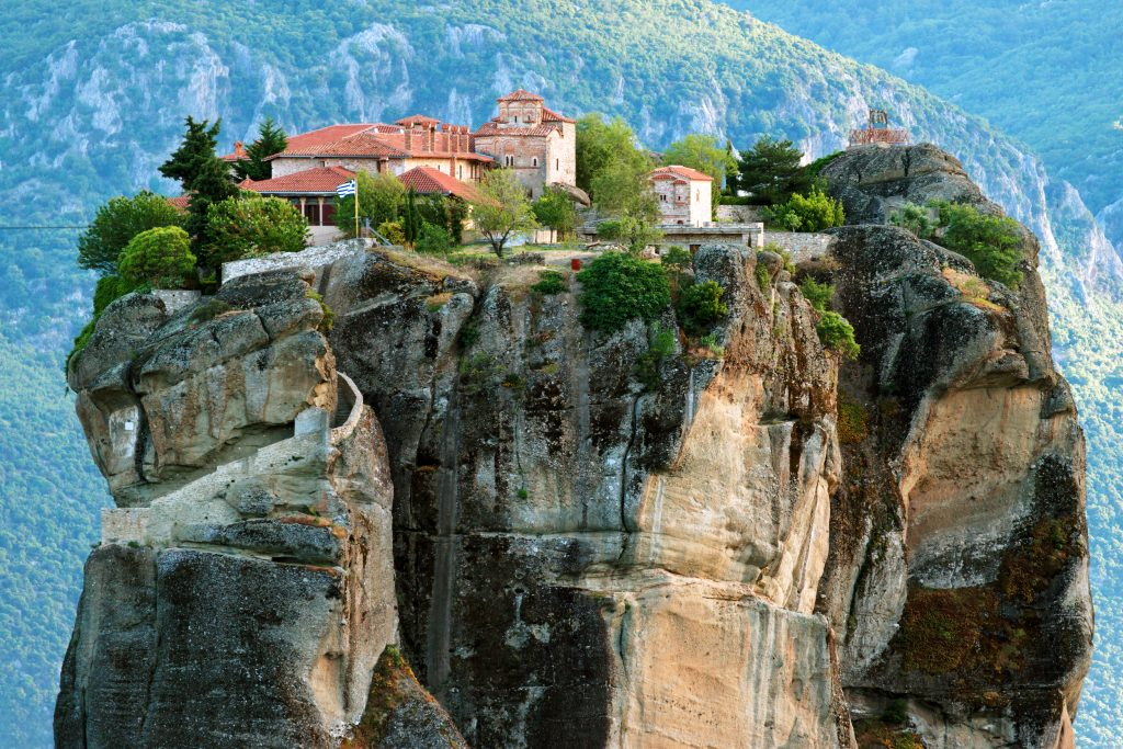 monastery in meteora greece as captured from a different ledge