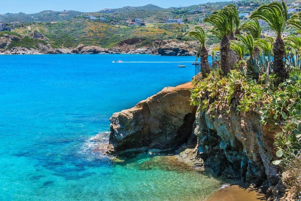 beautiful coastline with bright blue water near heraklion greece itinerary