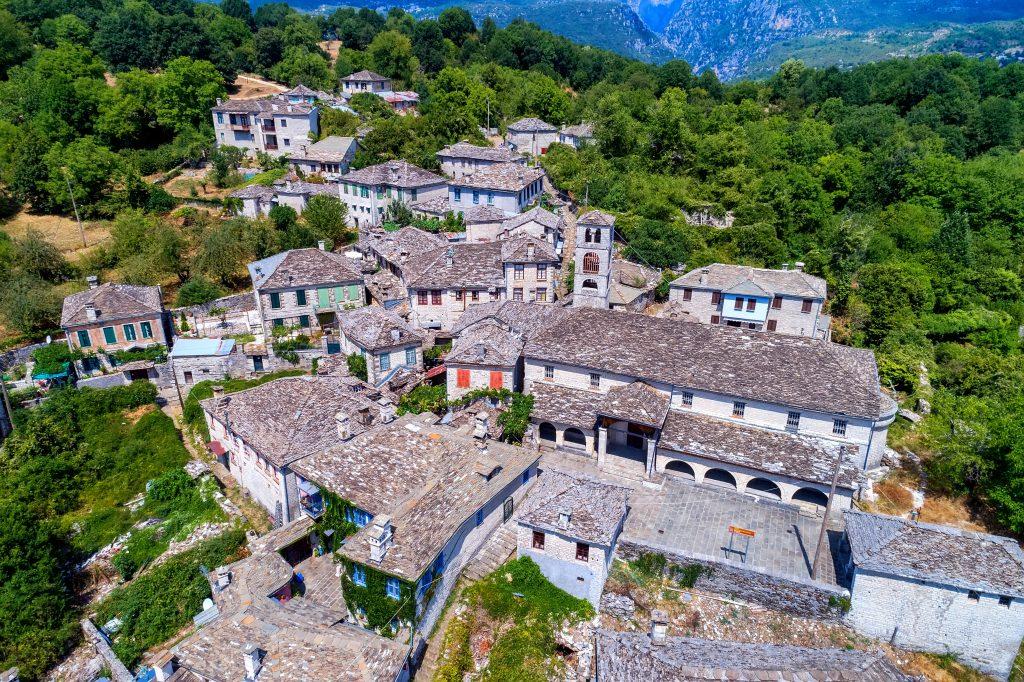 stone village in Zagorohoria greece as seen from above