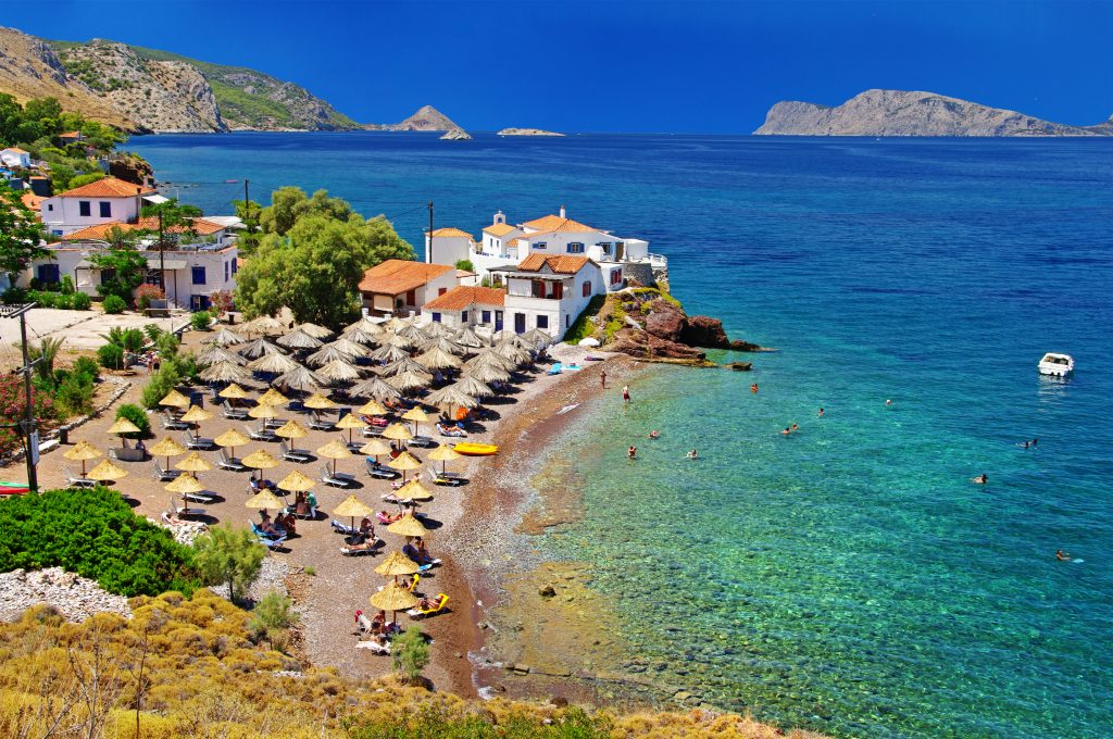 beach in hydra greece as seen from above