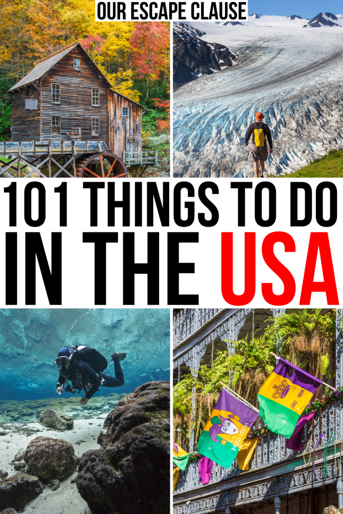 """4 photos of tourist attractions in america: gristmill, glacier, scuba diving, new orleans. black and red text on a white background reads """"101 things to do in usa"""""""