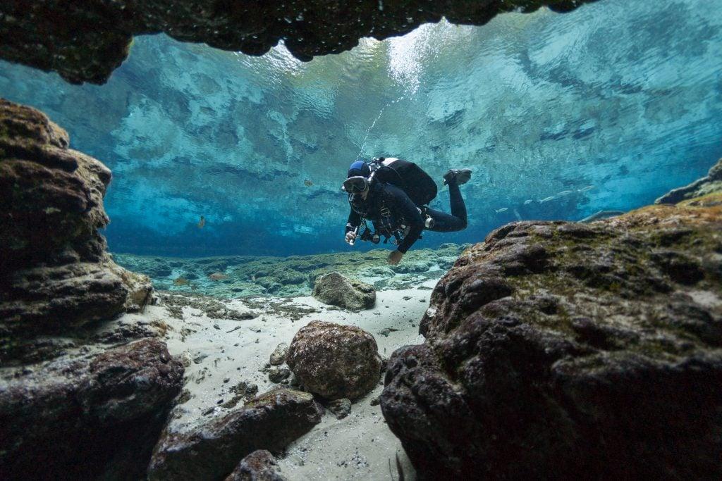scuba diver in ginnie springs florida