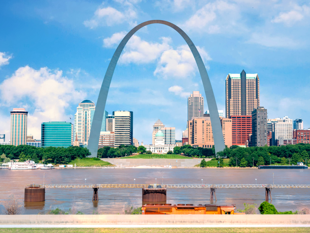 view of gateway arch in st louis from across the river, one of the best things to do in usa attractions
