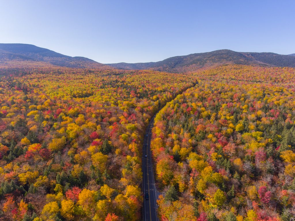 aerial view of white mountain national forest along kancamagus highway during fall foliage season, one of the top tourist attractions in usa