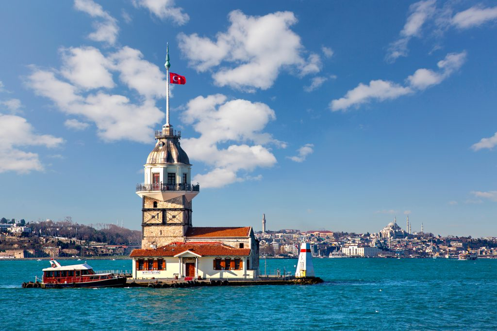 view of istanbul maidens tower from across the water, one of the best istanbul things to do