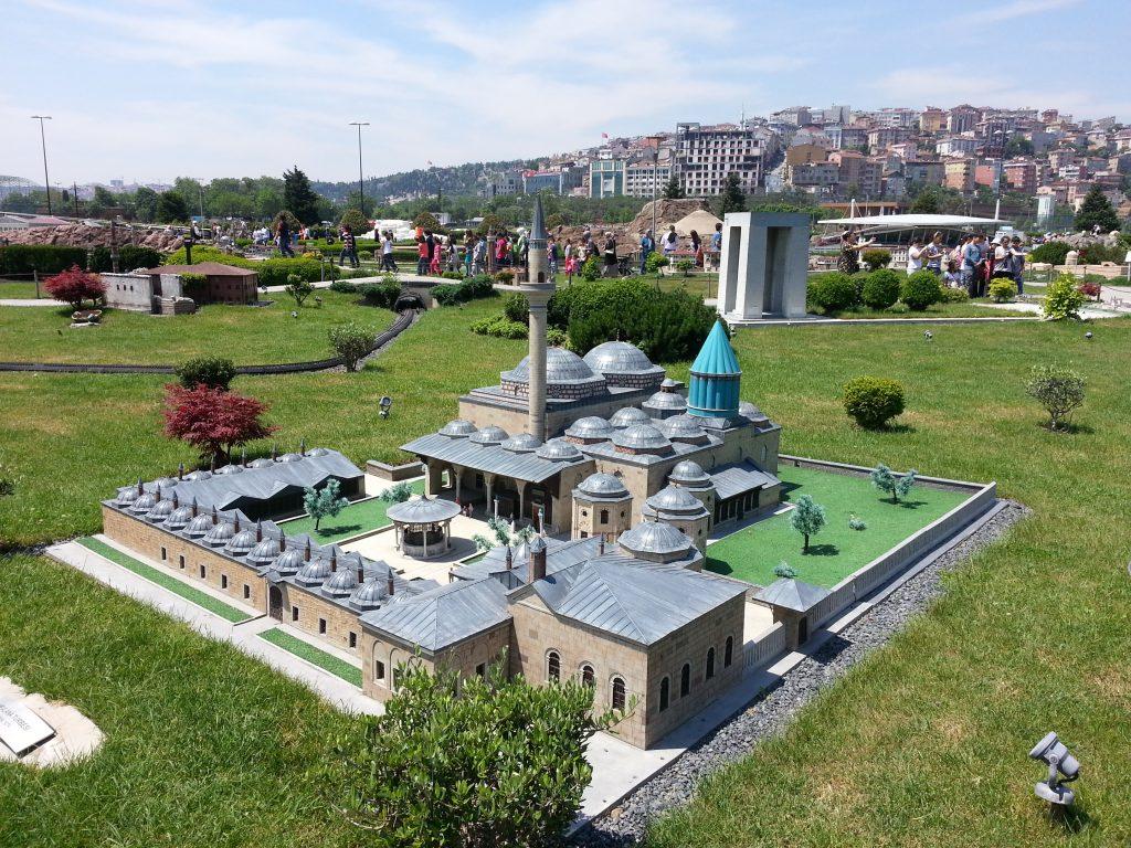 miniature mosque at miniaturk amusement park in istanbul turkey