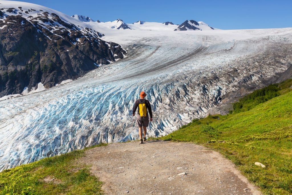 hiker in front of exit glacier in keni fjords national park, one of the most unique tourist attractions in usa