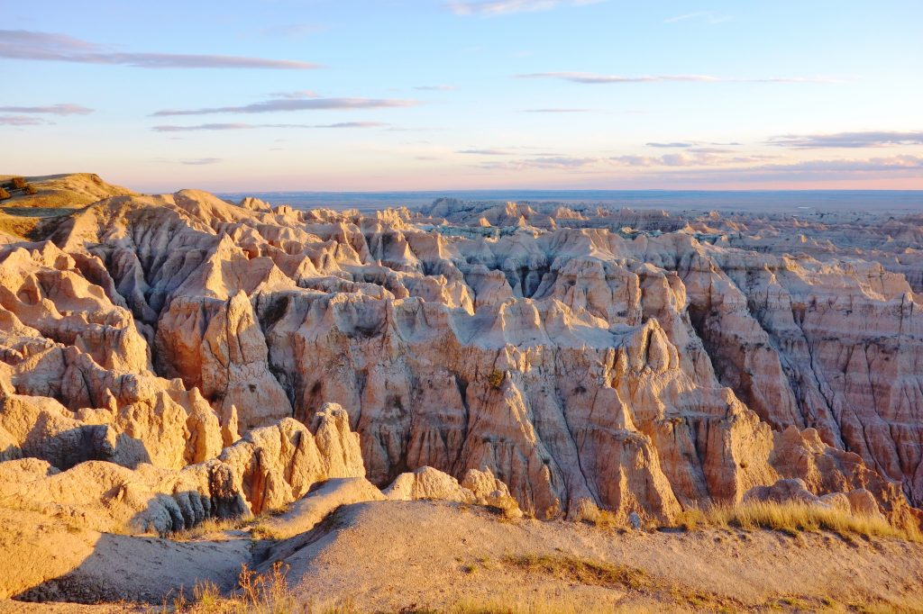landscape of badlands national park in south dakota, one of the best things to do usa