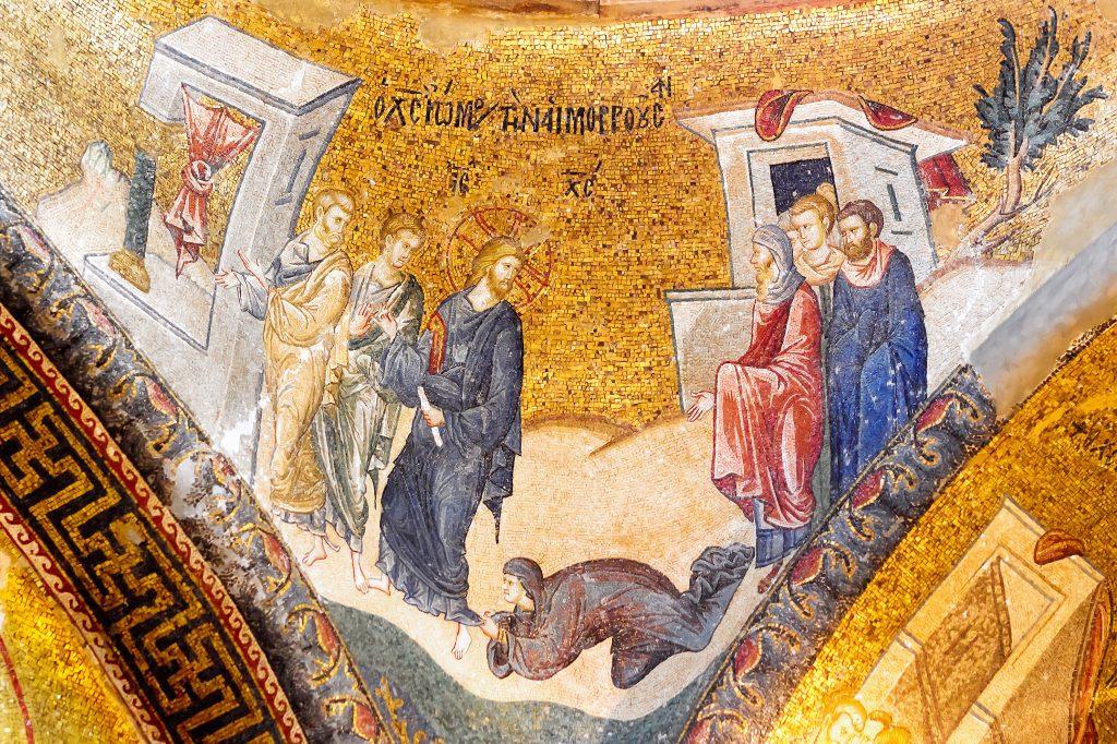 gold mosaics at chora church istanbul turkey