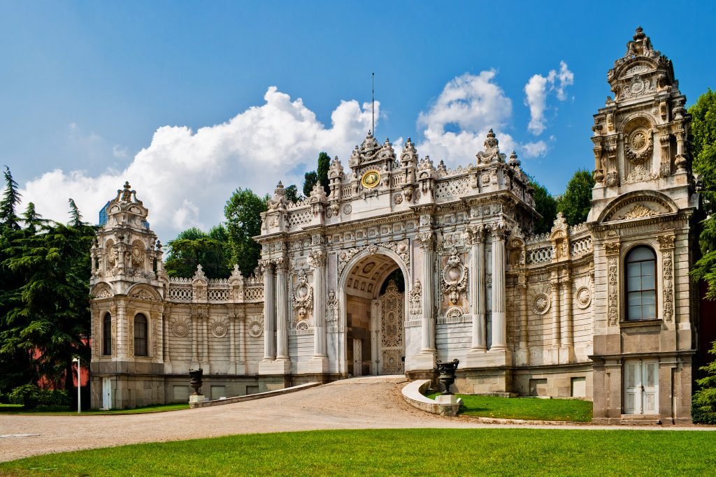 front facade of Dolmabahce palace istanbul