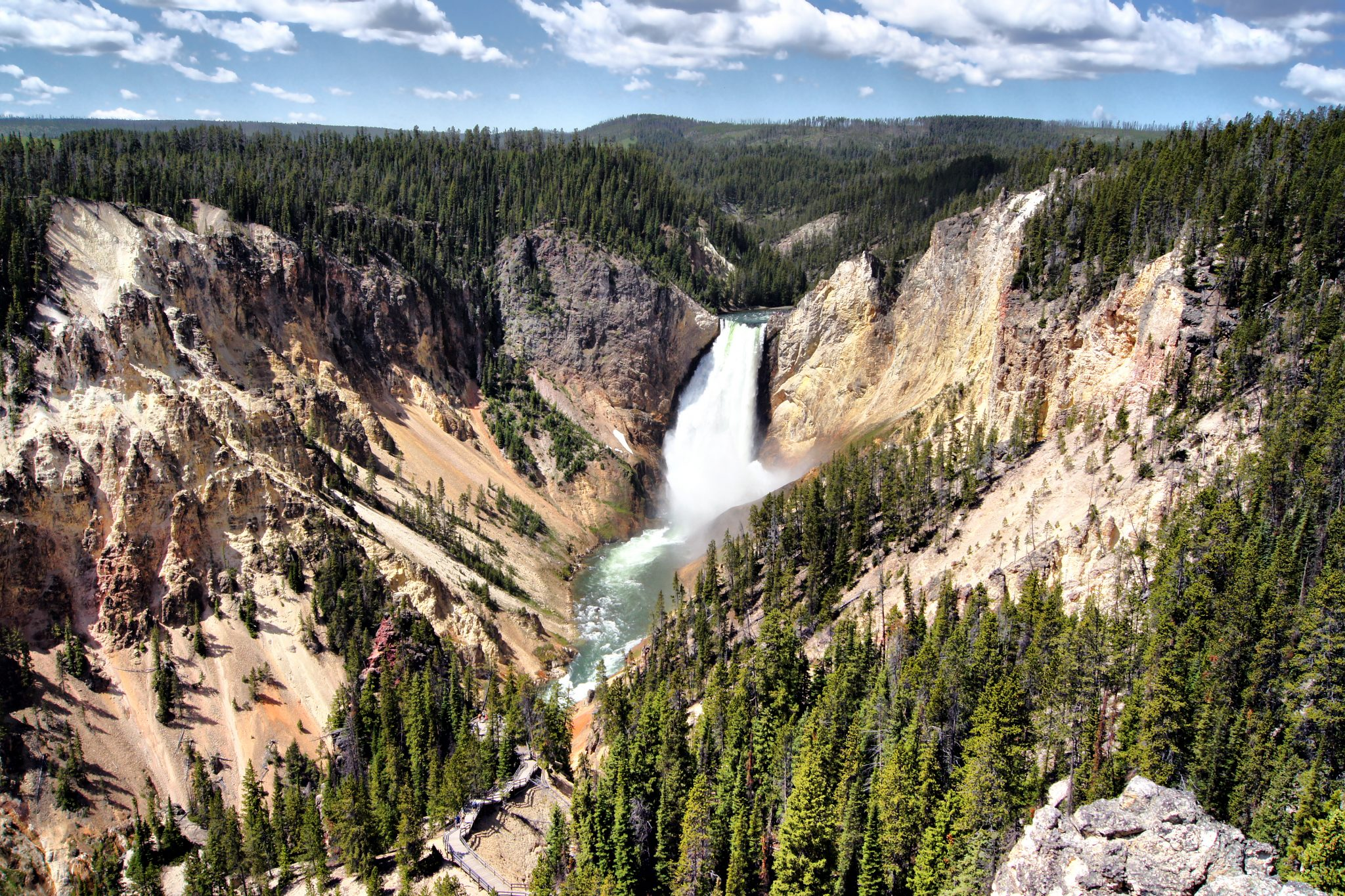 waterfall in grand canyon of yellowstone from above, one of the best things to do in usa tourist attractions