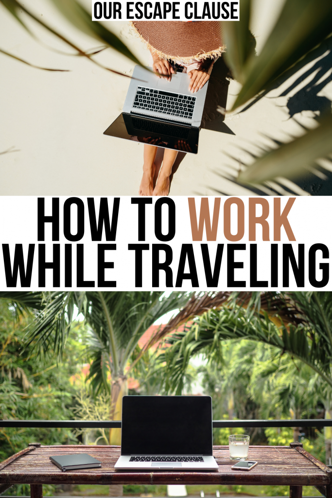 """two photos of digital nomad laptops, black and tan text on a white background reads """"how to work while traveling"""""""