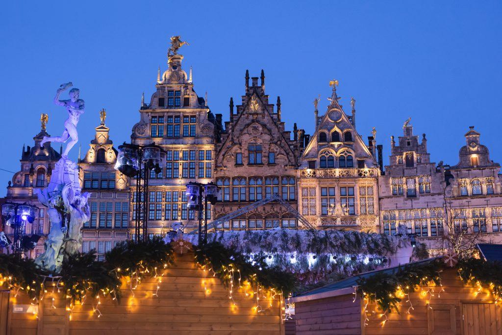 antwerp belgium christmas market at night blue hour